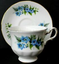 Queen Anne Vintage Bone China Tea Cup and Saucer Blue Flowers England 8565