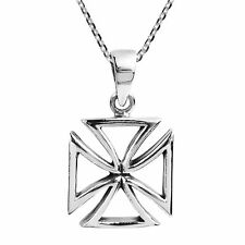 Iron Cross Faith Outline Sterling Silver Necklace