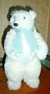 "Polar Bear white fur with blue scarf 12"" Paper Mache"