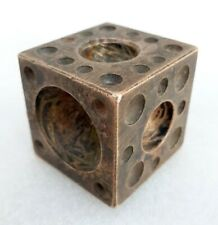 Antique Old Unique Dice Shape Big Heavy Bell Metal Bronze Die Stamp Mold Seal