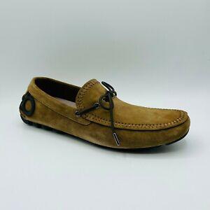 Salvatore Ferragamo Atlante Men's Brown Suede Hotsebit Loafer Shoe 708346