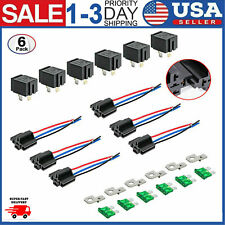 6 Pack Car Fuse Relay Switch Harness Set Kit 12V 30A SPST 4Pin 14 AWG Hot Wires