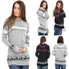 Girls Women's Ladies Christmas Hoodie Sweatshirt Jumper Sweater Hooded Pullover