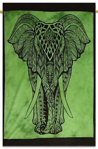 Indian Mandala Elephant Tie Dye Green Wall Hanging Poster Home Decorate Tapestry