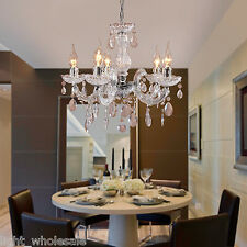 Antique Vintage Crystal Ceiling lamp 5 Candle lights Fixture Chandelier Lighting