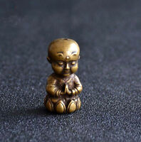 Chinese collection archaize brass lotus young monk crafts small statue