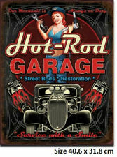 Hot Rod Garage - Pinup Tin Sign 1990 Made in the USA 40.6 x 31.8cm
