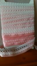 BEAUTIFUL KNITTING IN LACE, WHITE WITH BABY PINK SATIN RIBBON TRIM