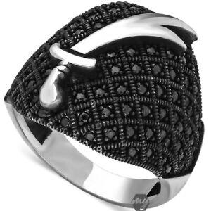 Solid 925 Sterling Silver Zulfiqar Sword Design Micro Black Stone Men's Ring