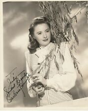 Barbara Stanwyck Autograph Stunning VINTAGE 8x10 Signed 1940's / UACC Certified