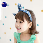 Lady Girls Kids Child Blue Denim Dots Ear Bow Party Hair Head band Headband Hoop