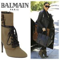 Balmain Lace-up Khaki Canvas Ankle Boots SZ 37.5 = US 7 - 7.5 - Worn-once