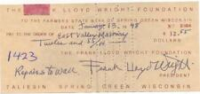 Frank Lloyd Wright- Signed Bank Check