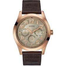 Nuevo Guess W0597G1 Breaker Oro Rosa Estuche Esfera Plateada Reloj Piel Marrón