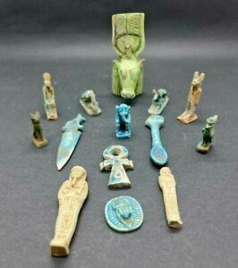 ANCIENT EGYPTIAN ANTIQUES 14 AMULETS USHABTI Anubis Ubasti Ankh Scarab STONE BC