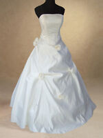 IVORY SATIN BRIDAL WEDDING DRESS BALL GOWN SIZE 12,18 HANDMADE QUALITY