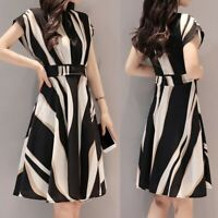 Fashion Women Business Dress Belt O-Neck  Short Sleeve Knee Length Bodycon Dress