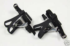 Wellgo LU-961- Road Bike Pedals + Toe Clips & Straps