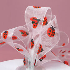 Lady Bug Print Sheer Ribbons 7/8 inches wide - price for 2 yards