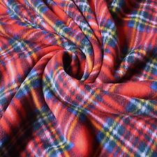 Red Royal Stewart Tartan Print Anti Pill Fleece Fabric *Per Metre*