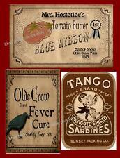 Farmhouse Primitive Old Crow, Tomato etc Labels    #231