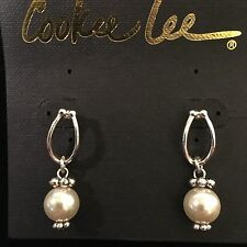 NWT COOKIE LEE GLASS PEARL SILVER PLATED DANGLY PIERCED EARRINGS