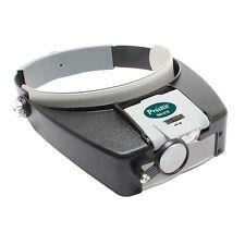 Jewelers Inspection Headband Magnifier Glasses Loupe 2 LED Lighting