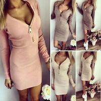 UK Women Zip Up V Neck Bodycon Jumper Mini Dress Ladies Party Long Top Dresses