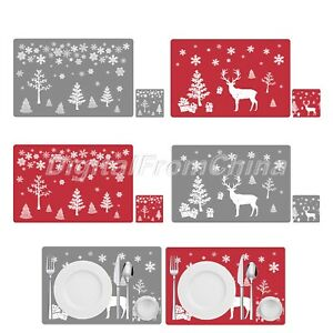 PVC Dining Table Place Mat Placemats Cup Wine Mat Coaster Home Christmas Decor