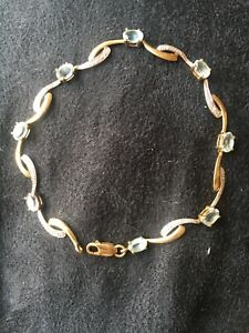 9ct Gold Topaz (blue Stone )Bracelet