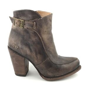 Bed Stu Isla Womens Brown Distressed Leather Ankle Bootie Size 7.5