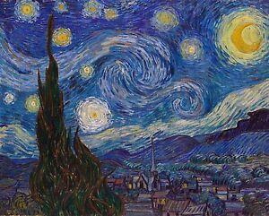 Van Gogh Starrey Night print canvas framed canvas painting art vintage