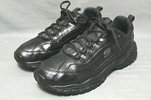 SKECHERS WORK Men Lace Up Round Toe Slip Resistant Shoe Size 10 Extra Wide Black
