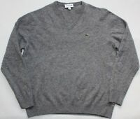 Lacoste Pure Wool V Neck Jumper - Large Size L - Dark Grey - Mens - Sweater