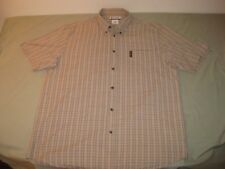 COLUMBIA SHORT SLEEVE SHIRT PURPLE YELLOW TAN PLAID MEN'S XL NICE!