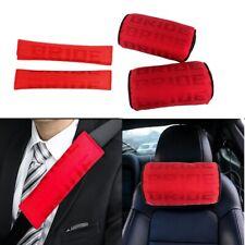 New 2PCS JDM Bride Red Gradation Neck Headrest pillow & Car seat belt cover Set