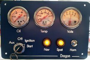 Marine, Fishing boat, Yacht, Narrowboat 3 gauge instrument panel UK Made