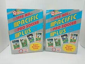 2 BOX LOT OF PACIFIC 1992 MSL PRO SOCCER PLUS PLAYER CARDS 72 PACKS HI-GLOSS