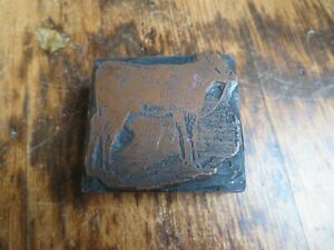 Antique / Vintage Printing Block Metal on Wood Cow Cattle Animal