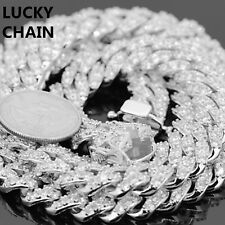 """14K WHITE GOLD FINISH ICED OUT PRONG SET CUBAN LINK CHAIN NECKLACE 24""""12mm 174g"""