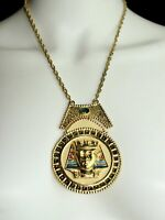 Vintage Egyptian Revival Round Pendant Gold Tone Chain Link Bib Necklace 13 1/2""