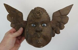 ANTIQUE HAND CARVED WOODEN ANGEL CHERUB BUST WALL HANGING FOLK ART Glass eyes