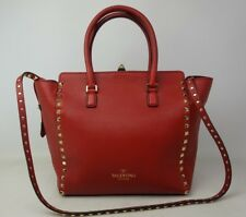 749e89f746361 Valentino Garavani Rockstud Red Leather Double Handle Tote Bag