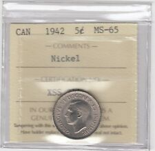 1942 Canada 5 Cents Nickel Coin - ICCS MS-65