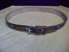 Leather belt Tooled Brown 11-34 USA Belt Flower Painted