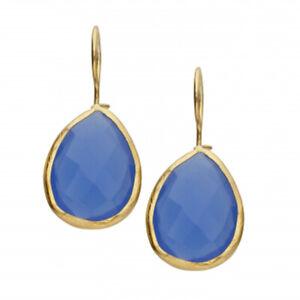 Ohrhänger Ohrring blauer Calcedony strahlendes Blau Messing vergoldet  IFE28 bc