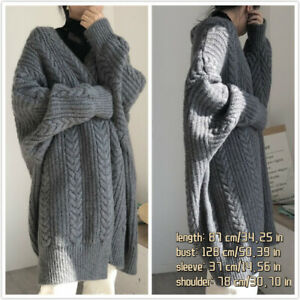 Women Long Knitted Cardigan Sweater Chunky Loose Open Front Autumn Outwear