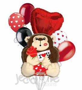 7 pc Gorilla Monkey Rose I Love You Heart Valentines Day Balloon Bouquet Be Mine