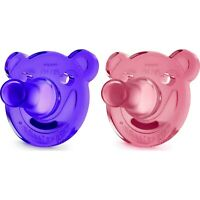 Philips AVENT Soothie Bear Shaped Pacifiers, 0-3 Months 2-Pack Pink/Purple NEW!