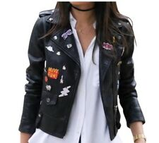 NWT Zara Cropped Faux Leather Biker Look Jacket with Novelty Plaques Black Small